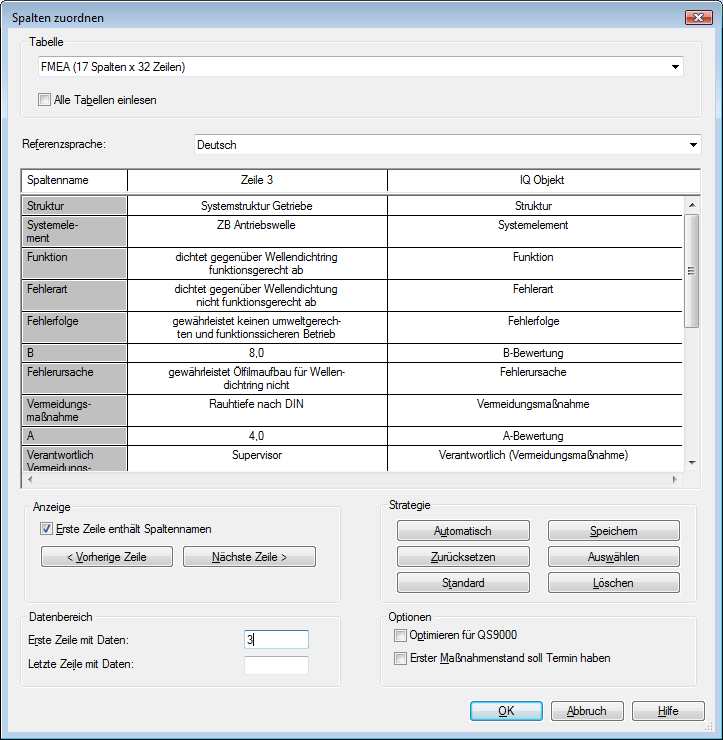 IQ import dialog for xls files