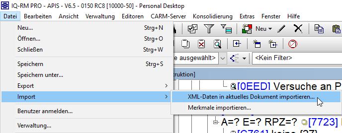 XML Datei importieren