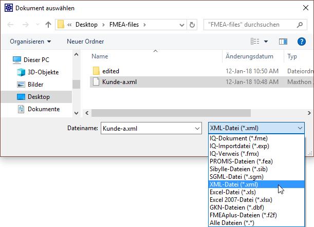 xml-format-wählen